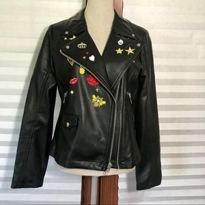 NWT Express Faux Leather Moto Jacket w/ Patches